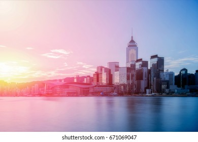 Hong Kong city skyline, the cityscape of business and financial district, one of the world's most significant financial centres, Asia-Pacific