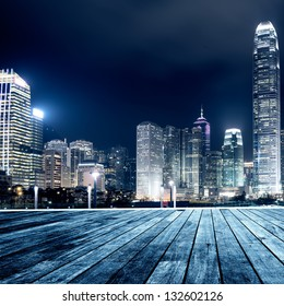 Hong Kong city skyline at nigh