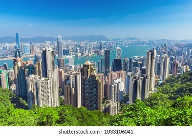 Hong Kong city skyline from the Victoria peak, China