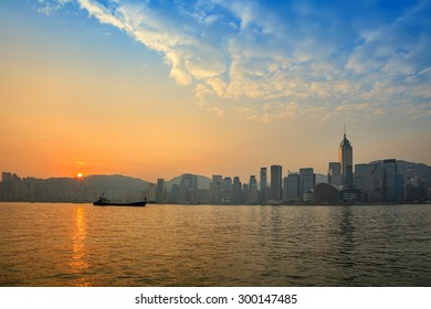 Hong Kong city skyline at Victoria Bay when sunrise, Hong Kong, China