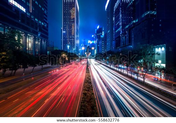 Hong Kong City street view at night in Wan Chai