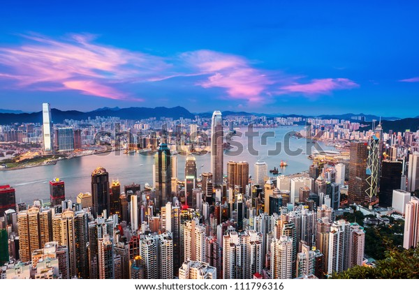 Hong Kong city with sunset