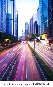 Hong Kong of City traffic at night