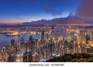 Hong Kong city view from peak at dawn