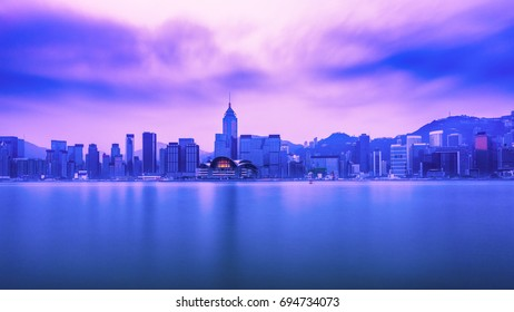 Hong Kong city view from peak at dawn