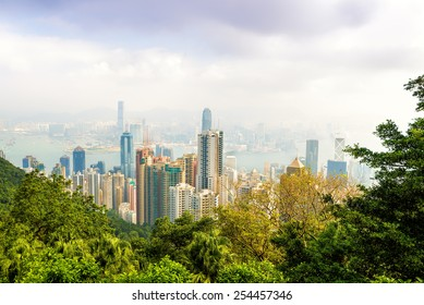 Hong Kong city view from The Victoria Peak. Day. China.