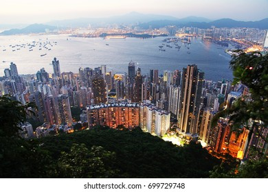 Hong Kong city view from Victoria peak. Sunset time