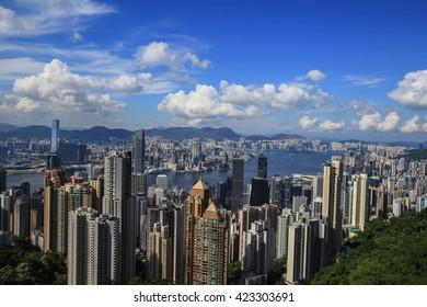Hong Kong city viewpoint at victoria park background landmark HONG KONG