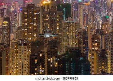 Hong Kong City,Hong Kong - DEC 03, 2015: lighting of Hong Kong city show at night.