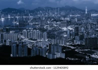Hong Kong cityscape ariel view in blue tone