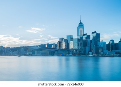 Hong Kong cityscape in blue tone