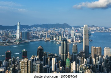 Hong Kong cityscape at daytime. View from Peak