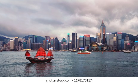 Hong kong cityscape and harbour