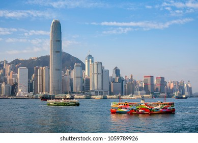Hong Kong cityscape in the morning over Victoria Harbour