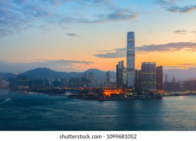 Hong Kong cityscape in the morning over Victoria Harbour.
