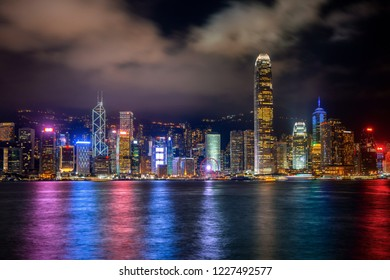 Hong Kong cityscape at night.