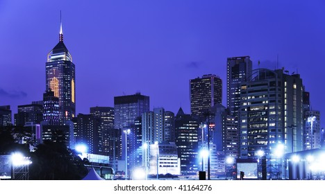 Hong Kong Cityscape at Night. Contemporary Business Towers and Residential Apartment Buildings in Hong Kong at night.