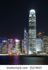 Hong Kong Cityscape at Night. IFC One and Bank of China located at the center of the photo.