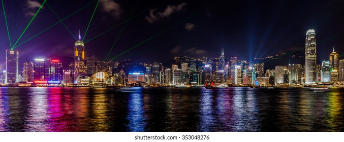 Hong Kong cityscape panorama view from across Victoria Harbor.