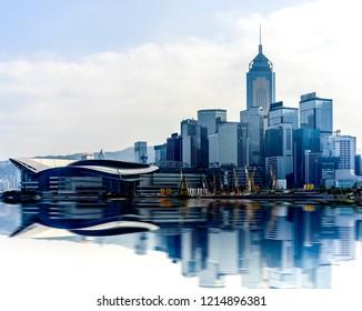 Hong Kong cityscape with reflections at victoria harbor