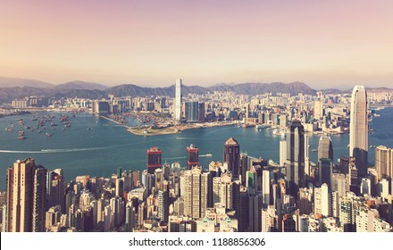 Hong Kong Cityscape in vintage color tone