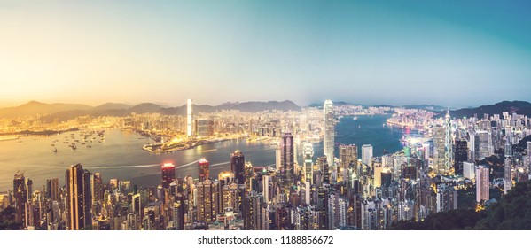 Hong Kong Cityscape in vintage tone
