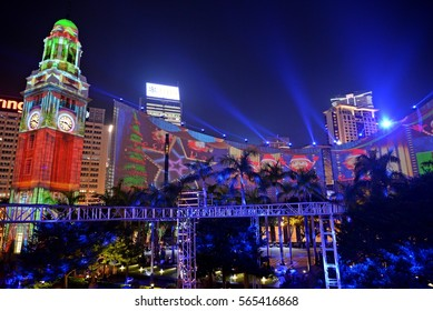 Hong Kong Clock Tower,Hong Kong December 20,2016:This spectacular 3D light show offers magical moments with exciting audiovisual effects at the iconic buildings of the Clock Tower .