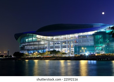 Hong Kong Convention and Exhibition Centre in night
