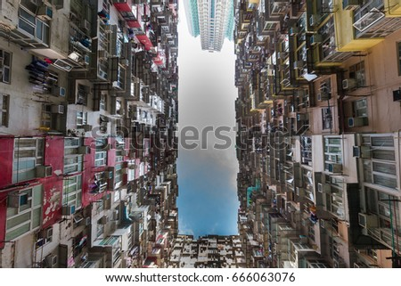 Hong Kong Crowded Residence Apartment Downtown Stockfoto (Jetzt ...