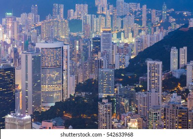 Hong Kong crowded residence area night view