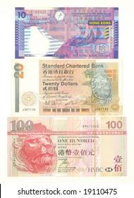 Hong Kong currency 10,20 and 100
