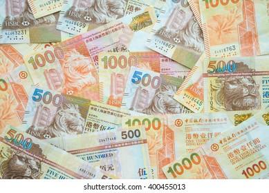 Hong Kong currency banknotes 500 and 1000 HK dollars