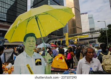 HONG KONG, DEC. 11. 2014: Chinese president Xi Jinping picture with umbrella among Pro-democracy supporters, at the Central district, as today is the last day of the protest.
