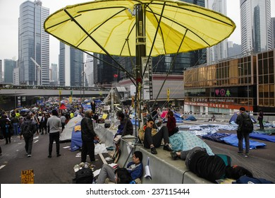 HONG KONG, DEC. 11. 2014: Pro-democracy supporters packs their things on the the road outside the government headquarters building at the Central district, as today is the last day of the protest.