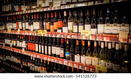 Hong Kong DEC 112016 Wine Shelves Stock Photo (Edit Now