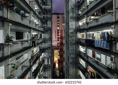 HONG KONG - DEC 3: Traditional old private housing building in Mongkok, Hong Kong on December 3, 2016. It is one of the busiest district in Hong Kong.