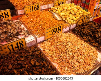 HONG KONG - DECEMBER 07, 2013: dried food stall at Hong Kong market