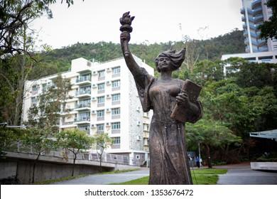 Hong Kong - December 10 2018: The statue of Goddess of Democracy