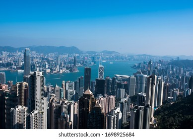 Hong Kong - December 12, 2019: Clear and blue sky panorama view from Victoria Peak, Hong Kong