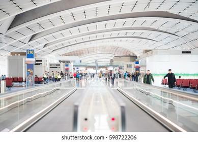 Hong Kong - December 14: Hong Kong International Airport also known as Chek Lap Kok Airport is the main airport on December 14, 2016 in Hong Kong.