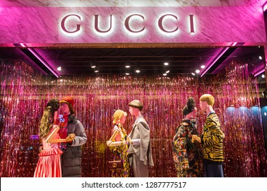 Hong Kong, December 17, 2018: Gucci store. Gucci is an Italian fashion and leather goods brand was founded by Guccio Gucci in Florence in 1921.