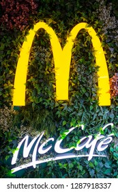 Hong Kong, December 17, 2018: McDonalds fast food and McCafe in Hong Kong. McDonald's is an American hamburger and fast food restaurant chain.