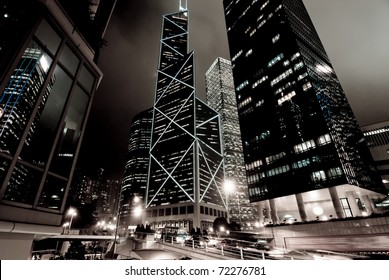 HONG KONG - DECEMBER 18: Bank of China Tower at night on December 18, 2009 in Hong Kong, China. It was founded in 1912 by the Government of the Republic of China and is the oldest bank in China.