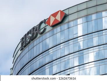 Hong Kong, December 19, 2018: HSBC Hong Kong and Shanghai Bank in Hong Kong. HSBC is one of largest bank groups.