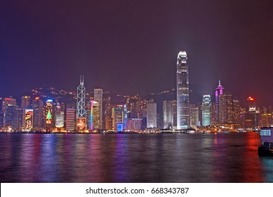 HONG KONG – DECEMBER 20, 2009: night view of the city with Christmas decorations.This area is internationally famous for business, finance and shopping.