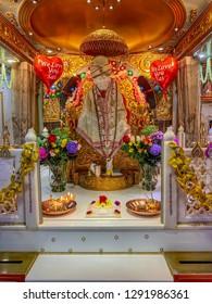 Hong Kong: December 2018: Beautiful Sai Baba Temple at Hong Kong. (Tsim Sha Tsui)