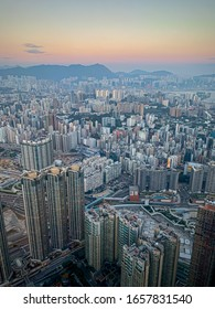 Hong Kong: December 2019: Beautiful view of the city from sky100 observation deck.