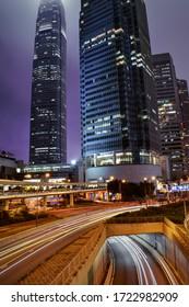 Hong Kong: December 2019: Beautiful view of the streets of Hong Kong at night.