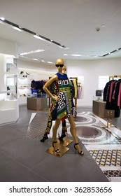 HONG KONG - DECEMBER 25, 2015:Versace store at shopping mall in Hong Kong. Hong Kong shopping malls are some of the biggest and most impressive in the world