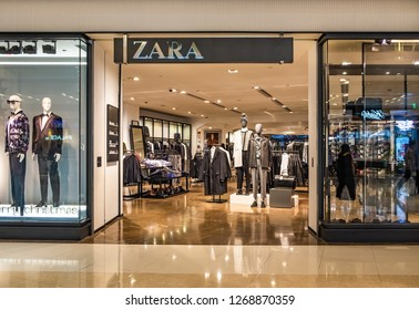 Hong Kong, December 28, 2018: Zara store in Hong Kong. Zara is a Spanish clothing and accessories retailer based in Arteixo, Galicia.